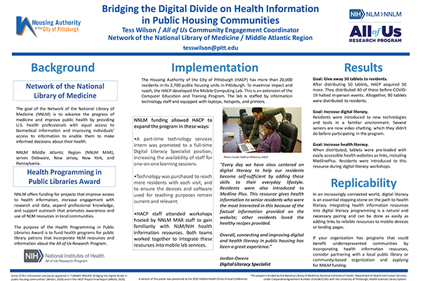 Bridging the Digital Divide on Health Information in Public Housing Communities poster